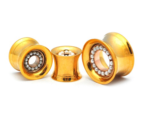 316L Steel Gold Screw On Tunnels With Removable Pearl Center