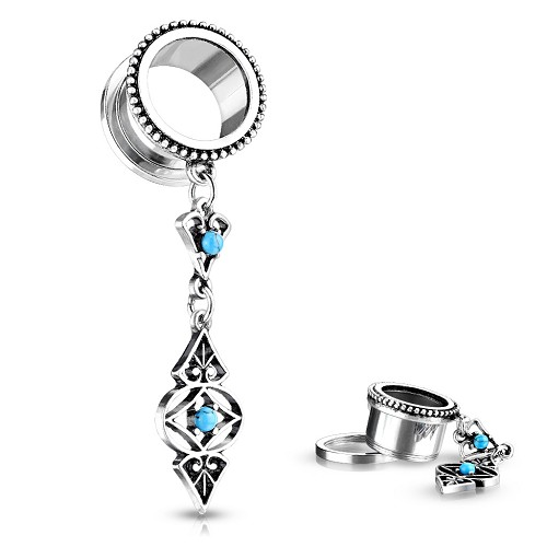 316L Surgical Steel Screw On Tunnels With Turquoise Set Tribal Charm Dangle
