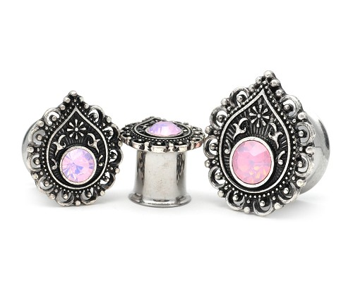 316L Surgical Double Flared Tunnels With Pink Opalite Centered Teardrop Filigree Top