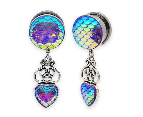 316L Steel Screw on Plugs with Filigree Mermaid Scale Dangle Style 1