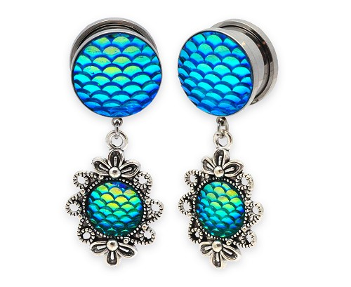 316L Steel Screw on Plugs with Filigree Mermaid Scale Dangle Style 2