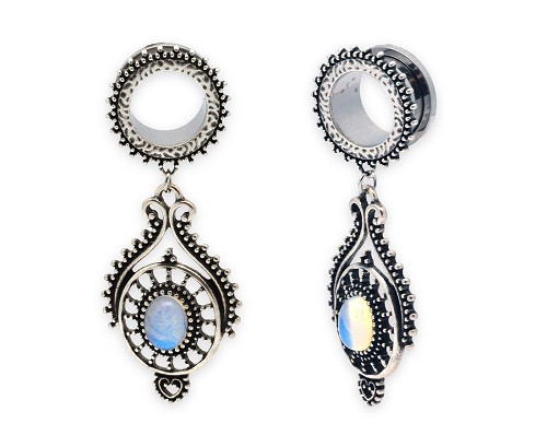 316L Steel Screw on Plugs with Tribal Opalite Stone Dangle Style 3