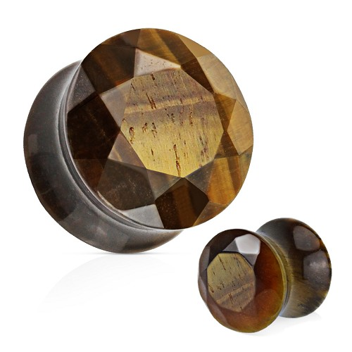 Tiger Eye Faceted Gem Cut Double Flare Stone Plugs