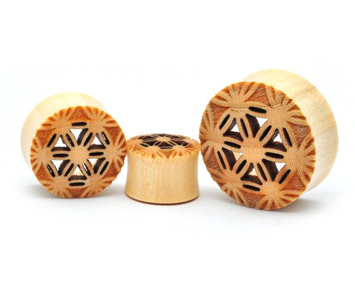 Crocodile Wood Plugs with Flower of Life Center Cutout