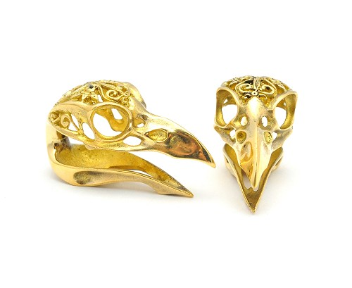 Pair of Raven Skull Brass Weights