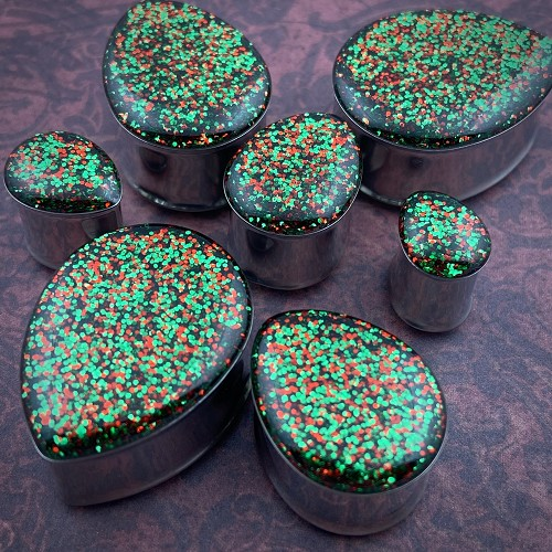 *Limited Stock* Red and Green Glitter Teardrop Plugs
