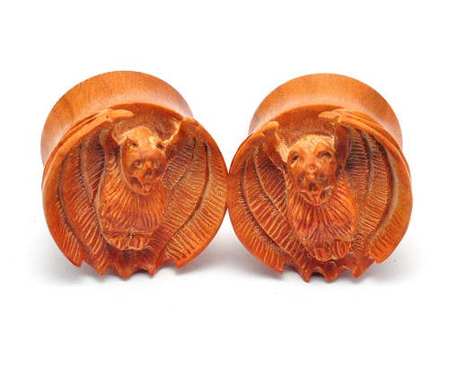 Saba Wood Vampire Bat Plugs