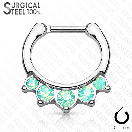 Steel Septum Clicker with Five Hanging Opalites