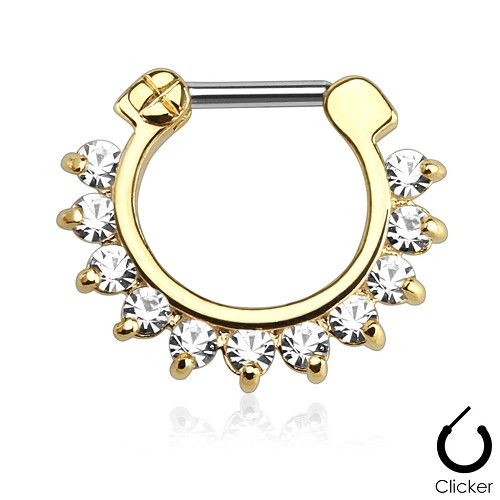 Steel Septum Clicker with Single Line Prong Set CZ