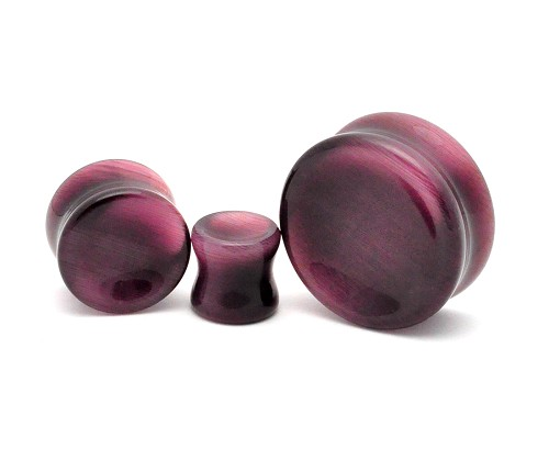 Purple Cat's Eye Double Flared Concave Plugs