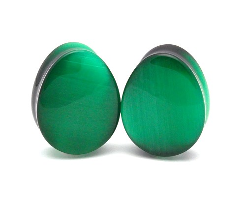 Green Cat's Eye Double Flared Teardrop Plugs