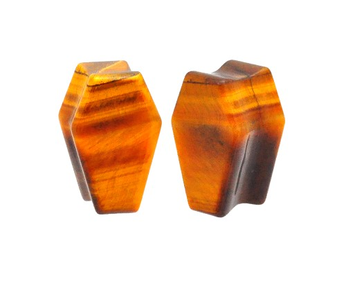 Tiger Eye Stone Coffin Shaped Double Flare Plugs