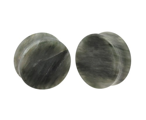 Green Line Jasper Stone Double Flare Plugs