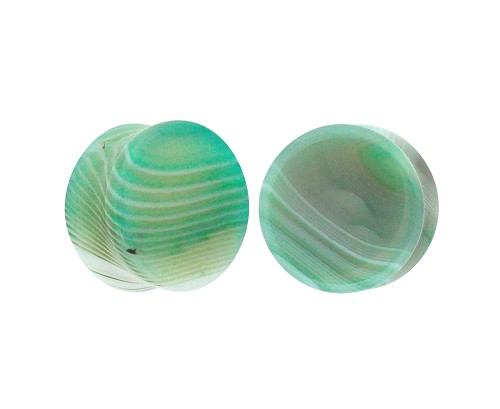 Green Line Agate Stone Double Flare Plugs
