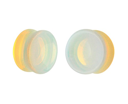 Concave Opalite Stone Double Flare Plugs