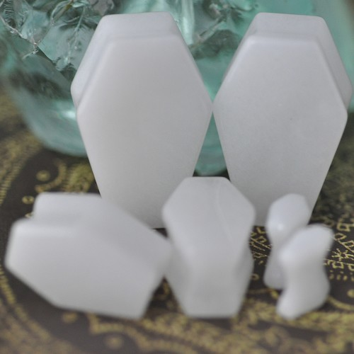 White Jade Stone Coffin Shaped Plugs