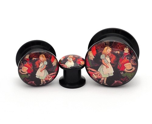 Black Acrylic Alice Style 1 Picture Plugs