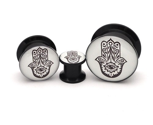 Black Acrylic Hamsa Picture Plugs