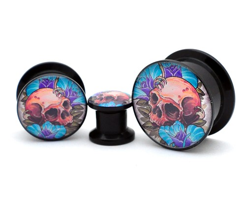Black Acrylic Skull and Roses Picture Plugs