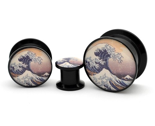 Black Acrylic Tidal Wave Picture Plugs
