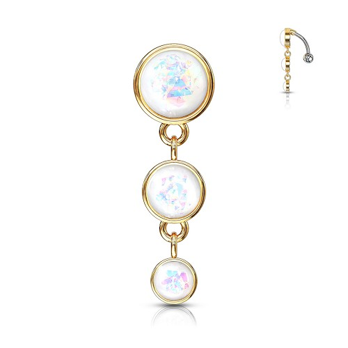 316L Surgical Steel Navel Ring With Opal Glitter Set Dangle Drop