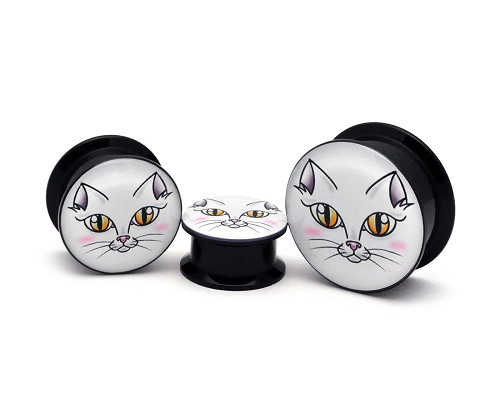 Black Acrylic White Cat Face Picture Plugs