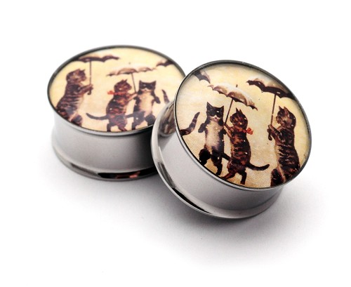 Vintage Cats with Umbrellas Picture Plugs