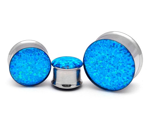 316L Stainless Steel Holographic Blue GLITTER Plugs