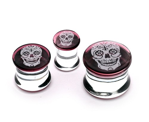 Pyrex Glass Double Flare Plugs with Engraved Sugar Skull