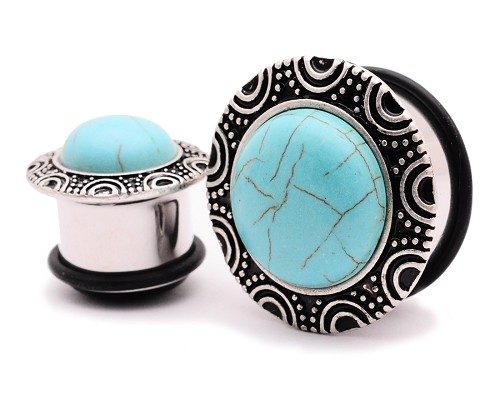 316L Steel Single Flare Plugs with Bronze Tribal Top and Turquoise Stone