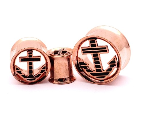 316L Rose Gold Steel Double Flare Tunnels with Anchor