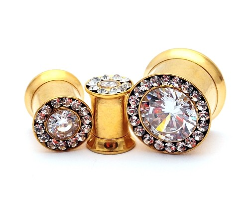 316L Gold Steel Double Flare Tunnels with Large Centered CZ and CZ Rim