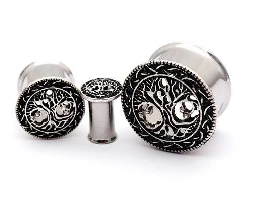 316L Surgical Steel Tunnels with Silver Tree of Life Top