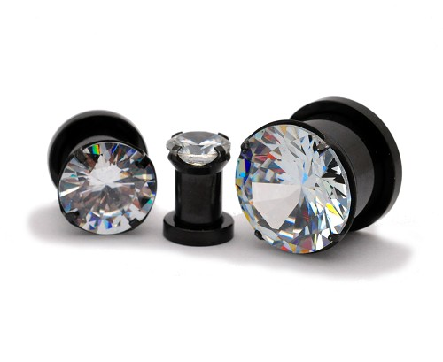 316L Black Steel Screw on Plugs with Single Prong Set Clear CZ
