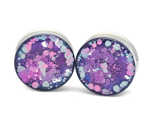 Embedded Plugs with Purple/Pink/Blue Swirls