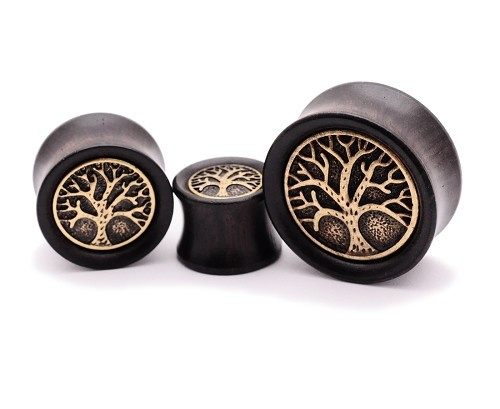 Ebony Wood Plugs with Brass Tree of Life Inlay