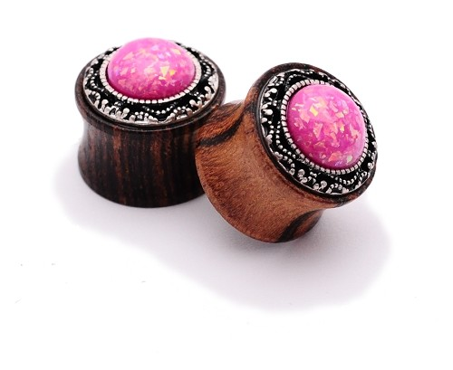 Rose Wood Plugs with Pink Imitation Opal