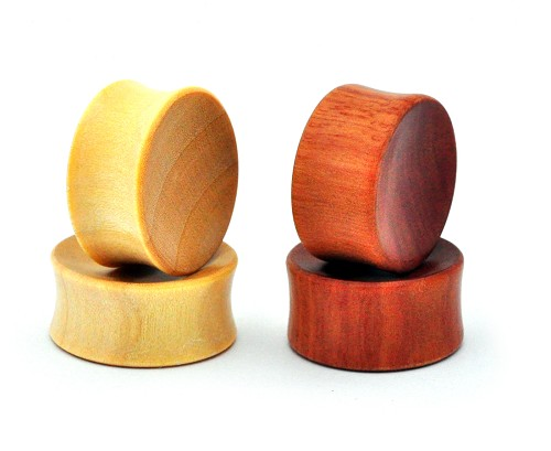 Set of 2 Pairs Concave Wood Plugs Saba and Crocodile - Both Sets Included