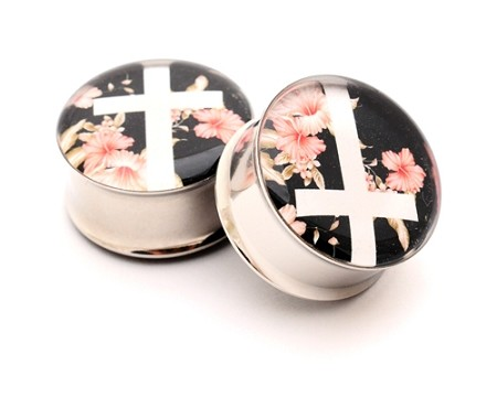 Vintage Floral Cross Picture Plugs